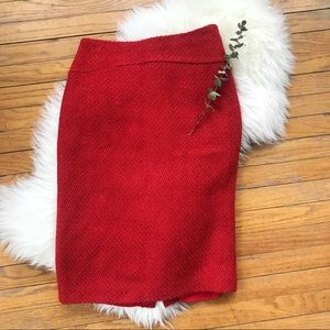 Moulinette Soeurs Anthro Red Wool Pencil Skirt